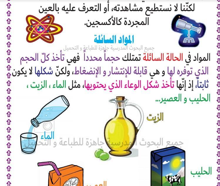 المواد الصلبة ـ المواد السائلة ـ المواد الغازية