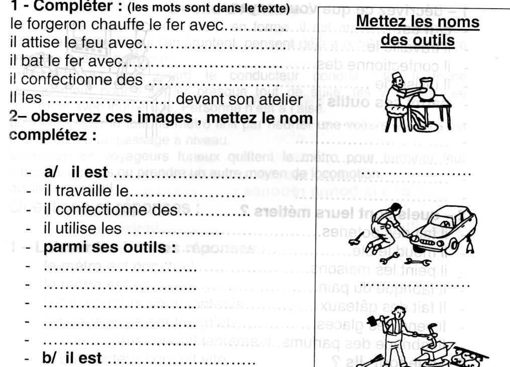 Lecture Français : les métiers