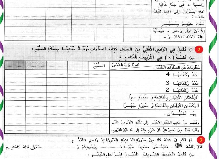 إمتحان رقم 2 في التربية الإسلامية  سنة 4 + الإصلاح