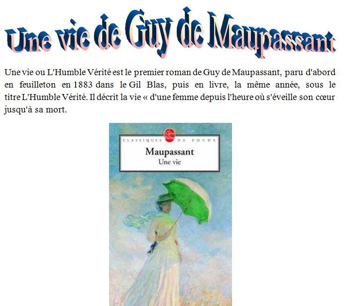 Une vie ( L'Humble Vérité)  de Guy de Maupassant