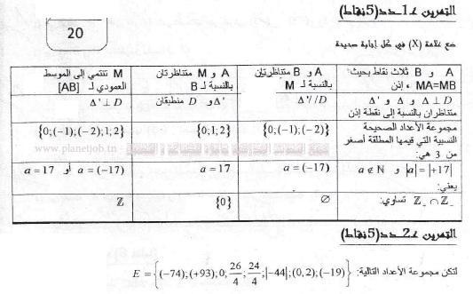 فرض مراقبة عدد 1 في الرياضيات  8 أساسي الثلاثي الأول  –  2