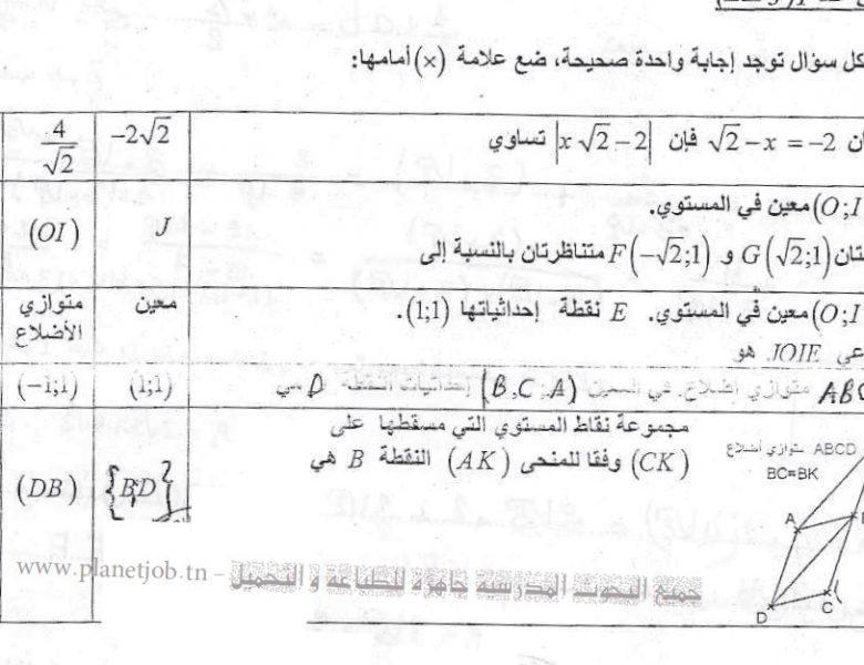 فرض مراقبة عدد 2 في الرياضيات 9 أساسي ـ 7