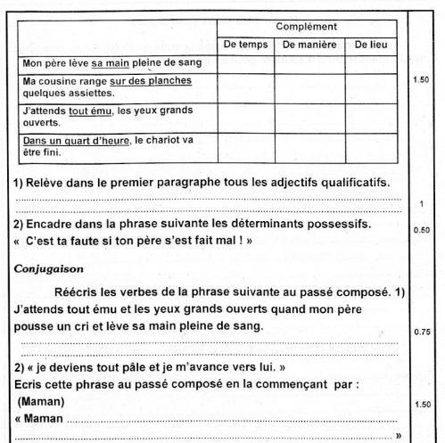 إمتحان تجريبي في الفرنسية قبل مناظرة النموذجي سنة 6 + الإصلاح