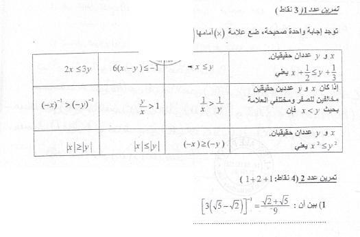 فرض عادي في الرياضيات عدد 4 تاسعة أساسي ـ 2