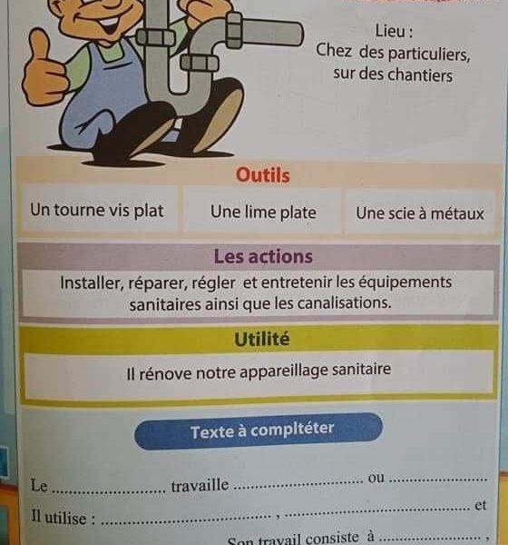 المهن بالفرنسية سنوات الإبتدائي – Les métiers